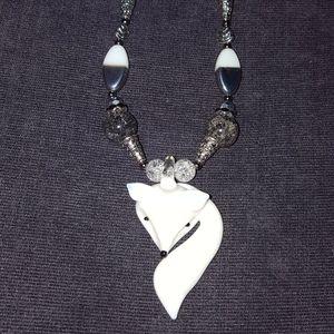 Murano Glass Arctic Fox Designer Necklace